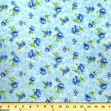 """Anna Blue Print Fabric Cotton Polyester Broadcloth By The Yard 60"""""""