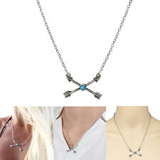 Women Boho Ethnic Cupid Arrow Cross Turquoise Bead Pendant Necklace Jewelry