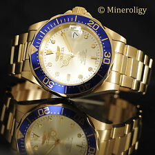 Automatic Mechanical Invicta Pro Diver Gold Plated Champagne Blue Bzl Mens Watch