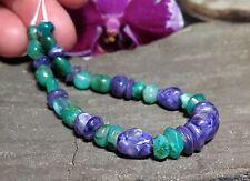 BEAUTIFUL RARE PURPLE CHAROITE & BLUE GEM SILICA CHRYSOCOLLA HAND CARVED BEADS