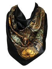 Floral Pattern Bandana Scarf Silk Satin Square Neck Head Wrap