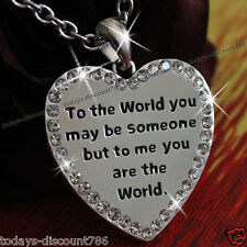XMAS GIFTS FOR HER Heart Diamond Silver Necklace Love Girl Wife Girlfriend Women