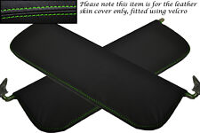 GREEN STITCHING FITS RILEY WOLSELEY 1500 2X SUN VISORS LEATHER COVERS ONLY