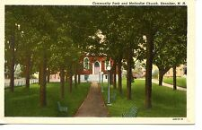 Community Park-Benches-Methodist Church-Henniker-New Hampshire-Vintage Postcard