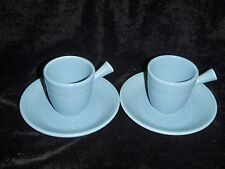 2 Homer Laughlin Periwinkle Fiestaware Demitasse Cups w/Stickhandle and Saucers