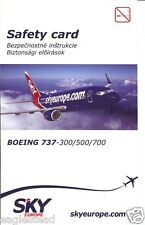 Safety Card - Sky Europe - B737 300 500 700 - 3 lang version - c2008 (S1640)