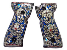 Beretta 92FS Grips Mother of Pearl Inlay Wood Parts Accessories Blue Skull