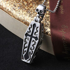 Stainless Horrific Gothic Openable Cross Coffin Skeleton Pendant Chain Necklace