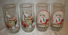 Set of 4 - Norman Rockwell Christmas Beverage Glasses By Coca Cola Company