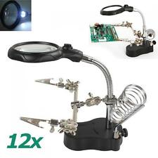 3.5X 12X Magnifying Lens 2 Helping Clips Magnifier LED Light Desk Table Lamp