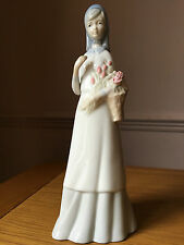 Porcelain Lady Figurine With Basket of Flowers Miquel Requena Valencia Spain,10""