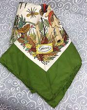 Authentic GUCCI Silk Crepe Vintage 1970s MUSHROOMS SCARF Green V Accornero Italy
