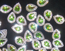 lime green & clear sew On Jewel 18mm GEM CRYSTAL RHINESTONE trim Bead