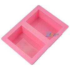 2 Cavities Rectangle Soap Ice Cube Cake Mold Silicone DIY Baking Mould Tray Tool