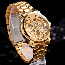 "Classic Men""s Gold Dial Mechanical Automatic Self-Winding Hollow Watch Cheap"