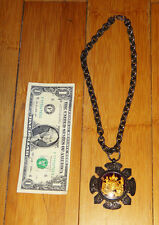 antique rare sterling heavy silver gold masonic medal award chain necklace