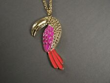 "Pink Coral Gold parrot tropical bird long bill toucan 30"" chain necklace pendant"