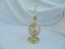 "1 Egyptian Glass Perfume Bottle Hand Blown Gold Accent Gift Ball Shape 6"" #33"