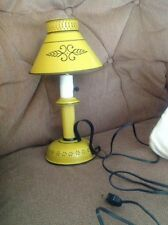 Vintage Stencil Mustard Metal Tole Electric Table Candlestick Light Lamp Retro