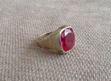 Vintage Sterling Silver Wide Mens Red Stone Crystal Cuff Band Ring Size 9.5