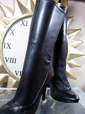 Stella Luna Black Stretch Leather Stiletto Mid-Calf Boots  size 7