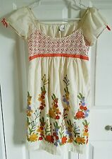 Women's ARK & CO. Ivory Embroidered Dress SMALL Flowers Empire MOD CLOTH NWOT