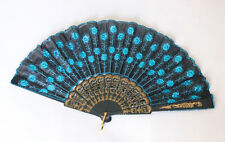 Embroidered Fabric Folding Hand Held Fan Sequins Party Bridals US Seller