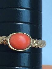 Hallmark 9ct  Red Coral Signet Gold Ring    Size O,1.9g