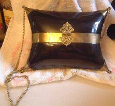 Vintage Art Noveau Black Lucite and Brass Pillow Purse-Beautiful!