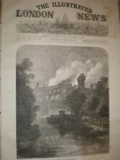 The burning of Warwick Castle 1871 old print and article