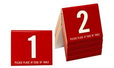 Plastic Table Numbers, 1-20 Tent Style, Red w/white number, Free shipping