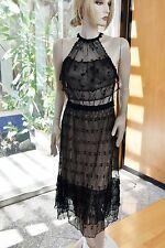 Vintage Intricate an Delicate 100% Cotton Hand Crochet Dress Black Fit S, M