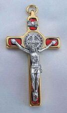 """St. Benedict Crucifix 24kt Gold Plate - Red 2 1/4"""""""