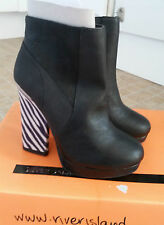 RIVER ISLAND Black Animal Print High Slim Heel Zip Up Ankle Boots Size 4 RRP £65