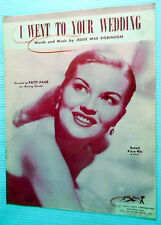 PATTI PAGE Sheet Music I WENT TO YOUR WEDDING Hill & Range Publ. 50's POP Vocal