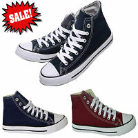 HI TOPS MENS WOMENS LACE UP FLAT CANVAS PUMPS TRAINERS UNISEX HIGH TOPS SHOES