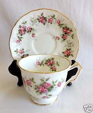 Aynsley Tea Cup and Saucer Crocus Shape Grotto Rose Pattern Teacup Pink Roses