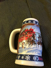 VINTAGE 1994 BUDWEISER LIGHTING THE WAY HOME CLYDESDALE HORSE HOLIDAY STEIN MUG!