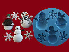 Christmas Snowman Snowflake Set Xmas Cake Decorating Sugarcraft silicone mould.