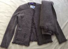 RALPH LAUREN PURPLE LABEL WOMEN'S FRINGED WOOL BLEND JACKET W/SHAWL SIZE 8