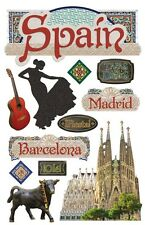 PAPER HOUSE SPAIN MADRID BARCELONA TRAVEL VACATION 3D SCRAPBOOK STICKERS