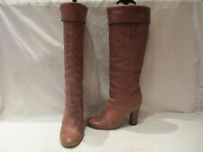 MISS SIXTY LIGHT BROWN LEATHER KNEE HIGH HEEL PULL ON BOOTS UK 5 EU 38 3000