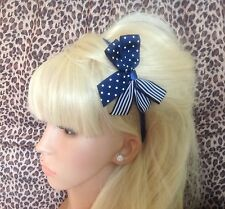 NAVY BLUE POLKA DOT CANDY STRIPE RIBBON SIDE BOW ALICE HAIR HEAD BAND NAUTICAL