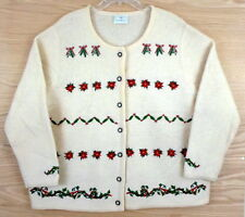SUSAN BRISTOL 100% Wool Christmas Cardigan Sweater 2X 3X 24W 26W Approximately