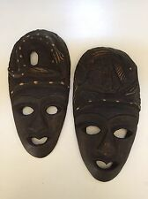"Wooden Masks Hand Carved Wood Ethnic Art Decor Mask 8"" (Lot of TWO) Fish Snake"