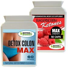 60 RASPBERRY KETONES 600MG + 60 DETOX MAX COLON CLEANSE DIET FAT BURN PILLS