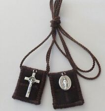 Small Brown Wool Catholic Scapular + Medals  Low INTERNATIONAL SHIPPING RATES