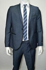 Men's Sharkskin Teal Blue Slim Fit Dress Suit Size 46L NEW Suit