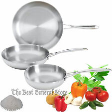 3pc T304 Mirror Finish Exterior Stainless Steel Frypan Frying Pan Set Skillet