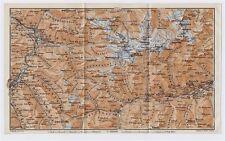 1911 ORIGINAL ANTIQUE MAP OF SILVRETTA ALPS DAVOS SUSCH SCUOL SWITZERLAND